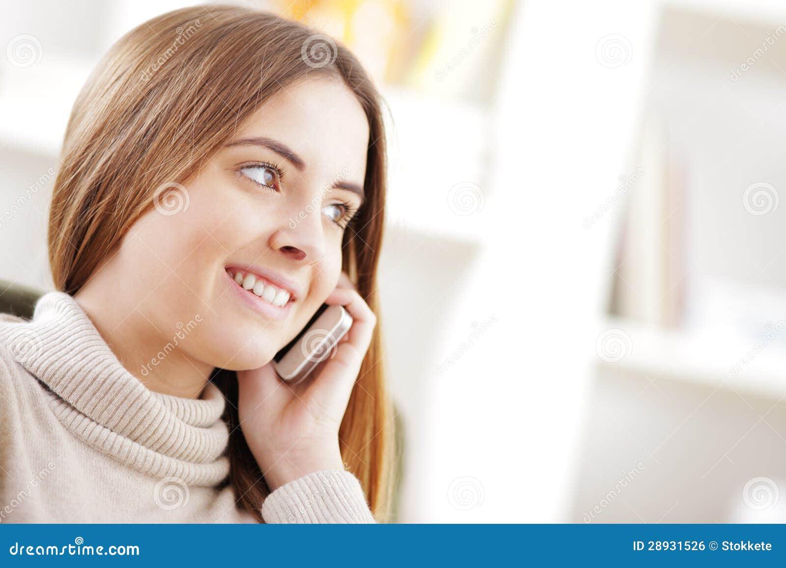 beautiful girl talking mobile phone