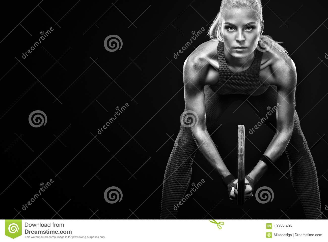 Beautiful blonde sport woman tennis player with racket in red costume