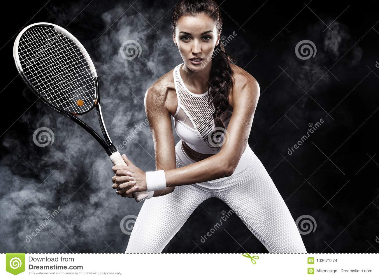Beautiful sport woman tennis player with racket in white sportswear costume