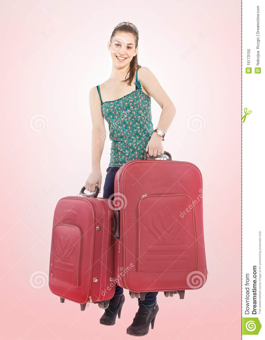 Beautiful Girl With A Travel Bags Royalty Free Stock Photo - Image ...