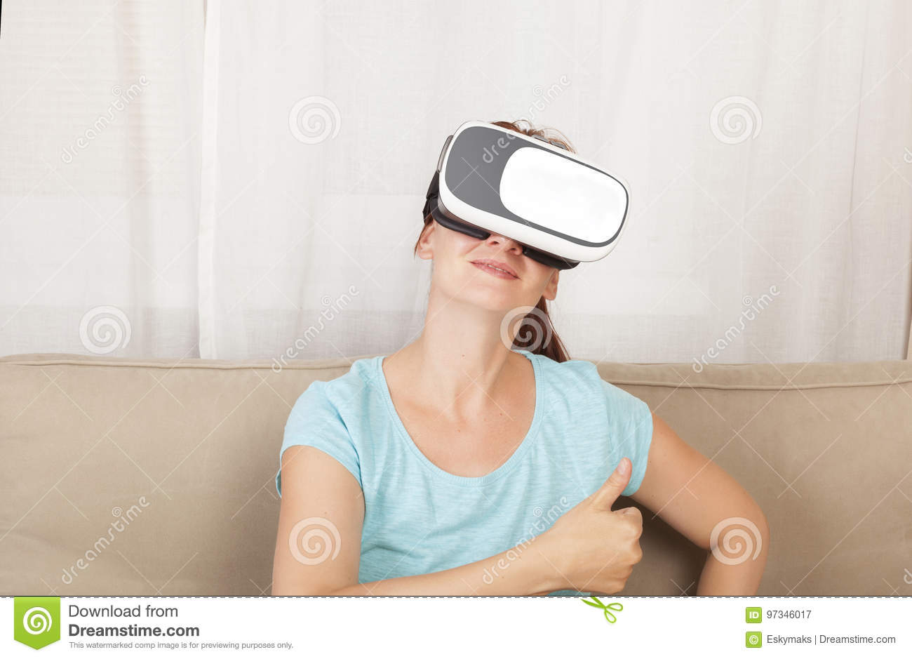 b0b1afa693ba Beautiful Girl With Vr Gloves. Stock Image - Image of device