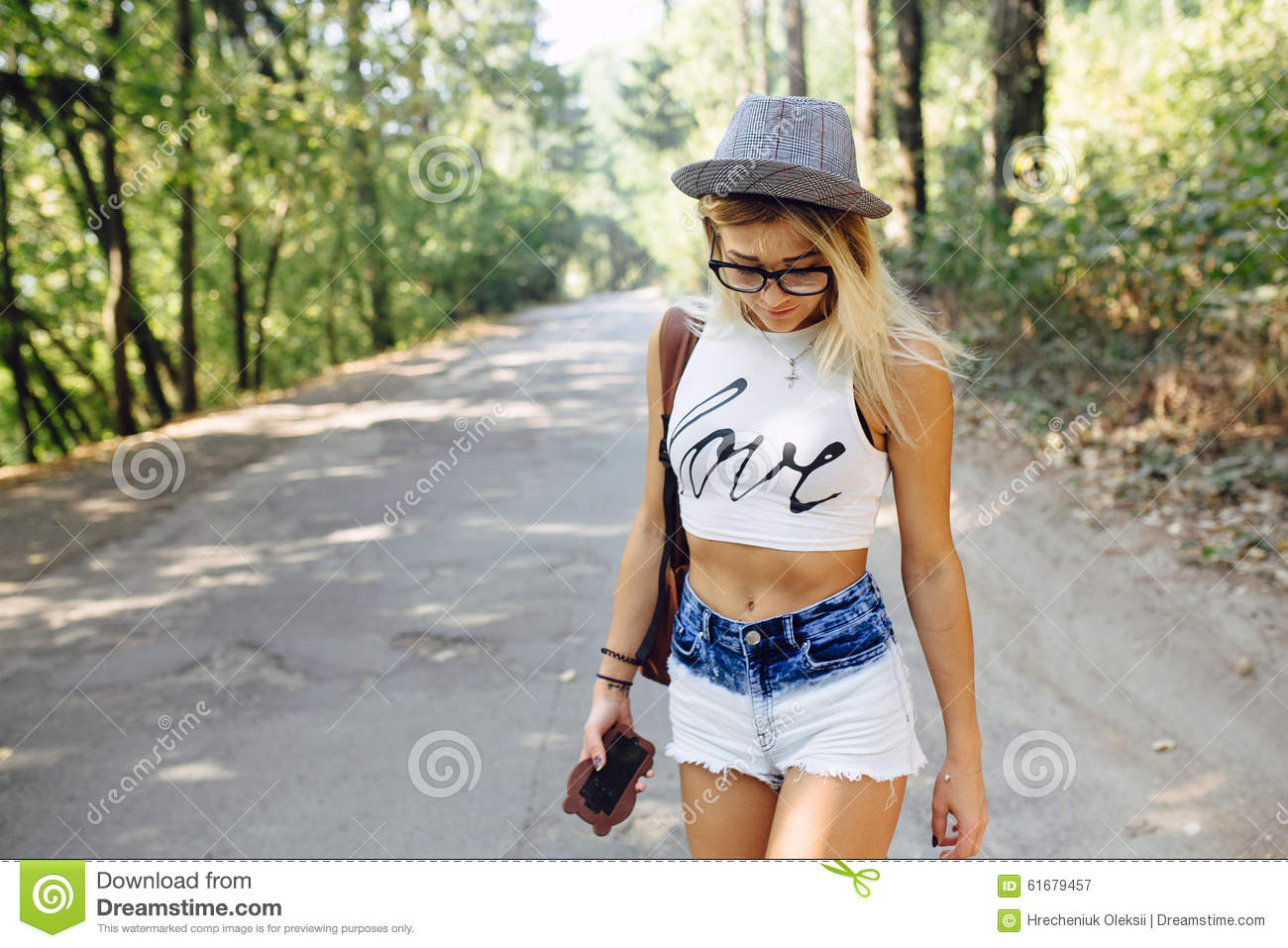 Two Girls Walking Along A Forest Stock Photo - Image of