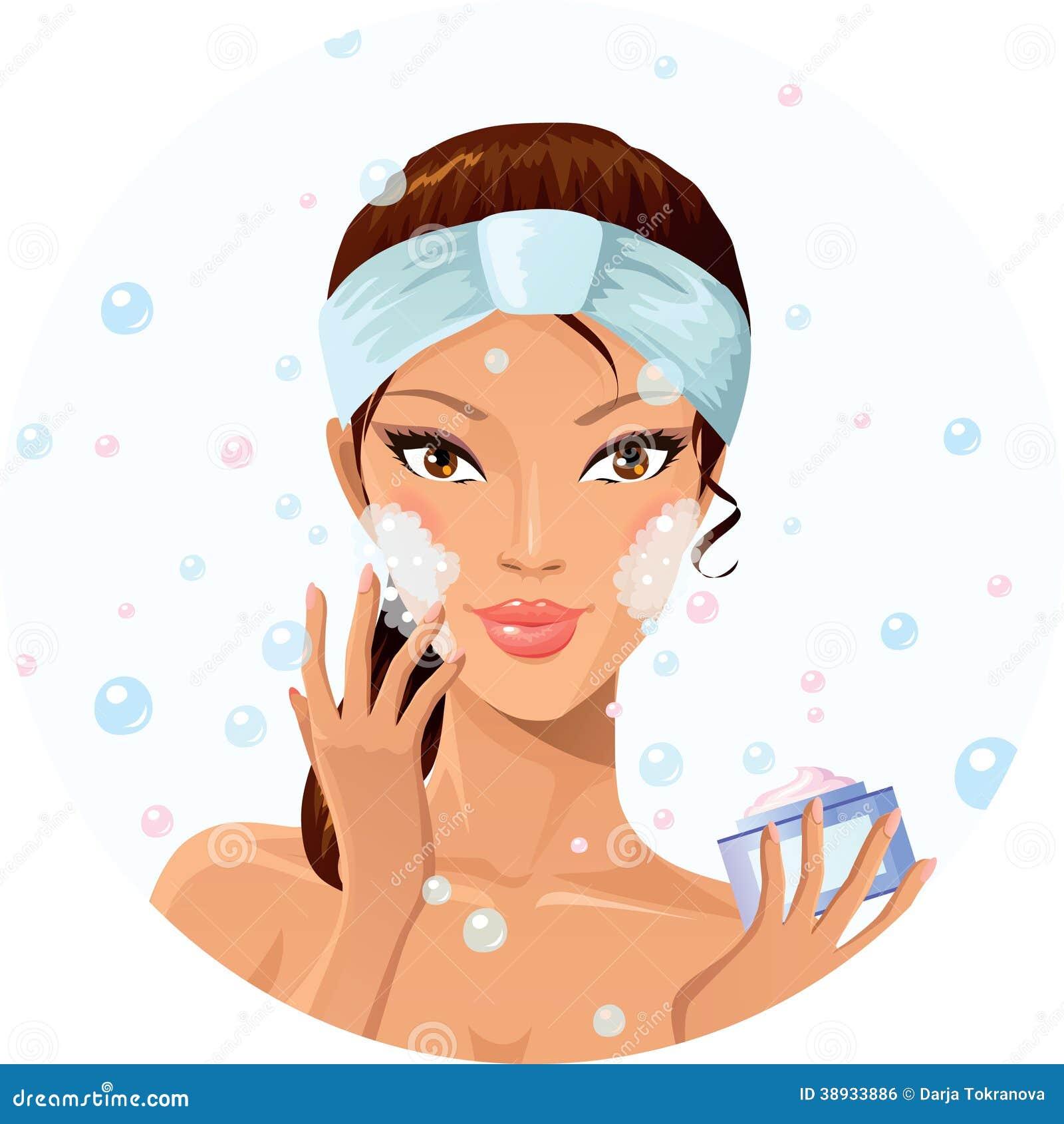 Fashion Clipart Light Skin Bubble Bath Clipart Cute Girl: Girl Washing Face With Soap Vector Illustration