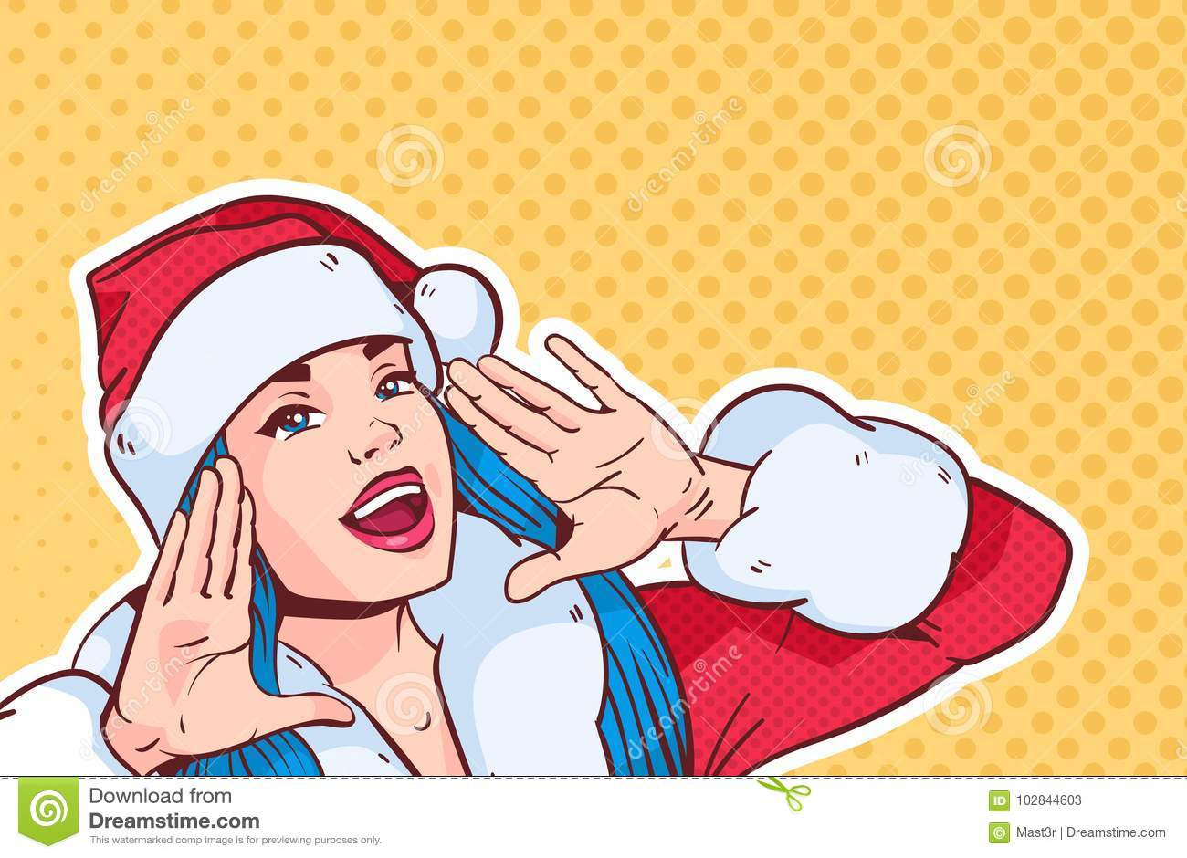 Beautiful Girl Wear Santa Costume Screaming, Merry Christmas And Happy New Year Concept Retro Pop Art Style