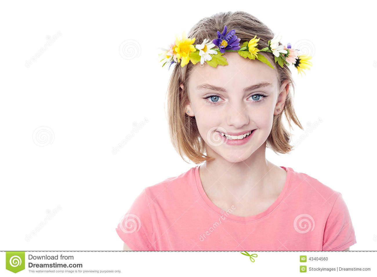 Beautiful Girl Wearing Flower Crown Stock Photo Image Of Adorable