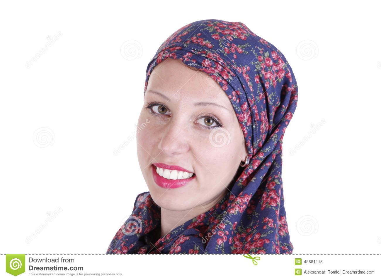 Beautiful Girl Wearing A Hijab Isolated On White Stock ...