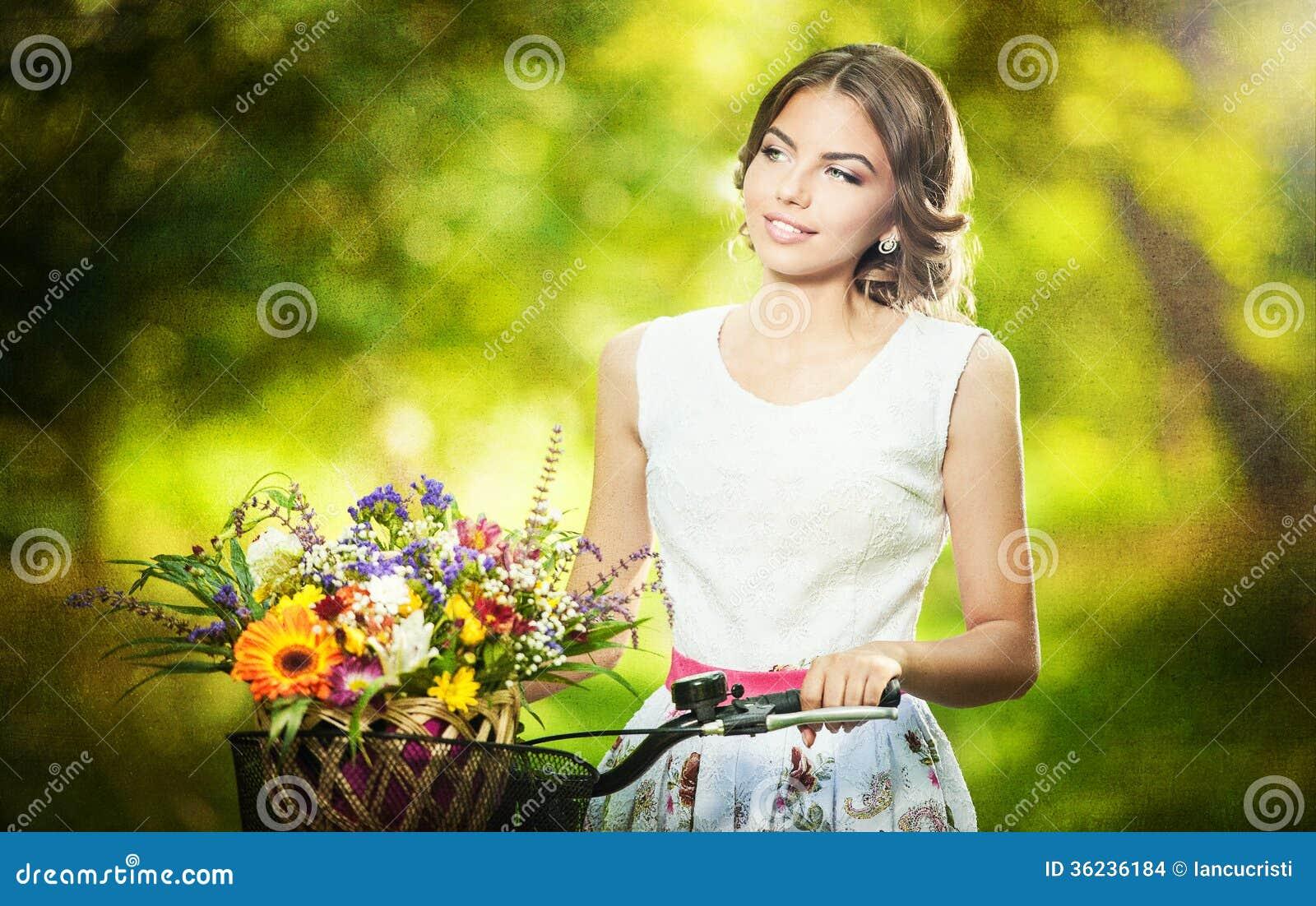 Beautiful Girl Wearing A Nice White Dress Having Fun In Park With