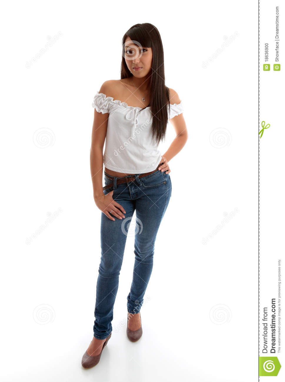 Beautiful Girl Wearing Skinny Jeans And Top Stock Photo - Image 18636900