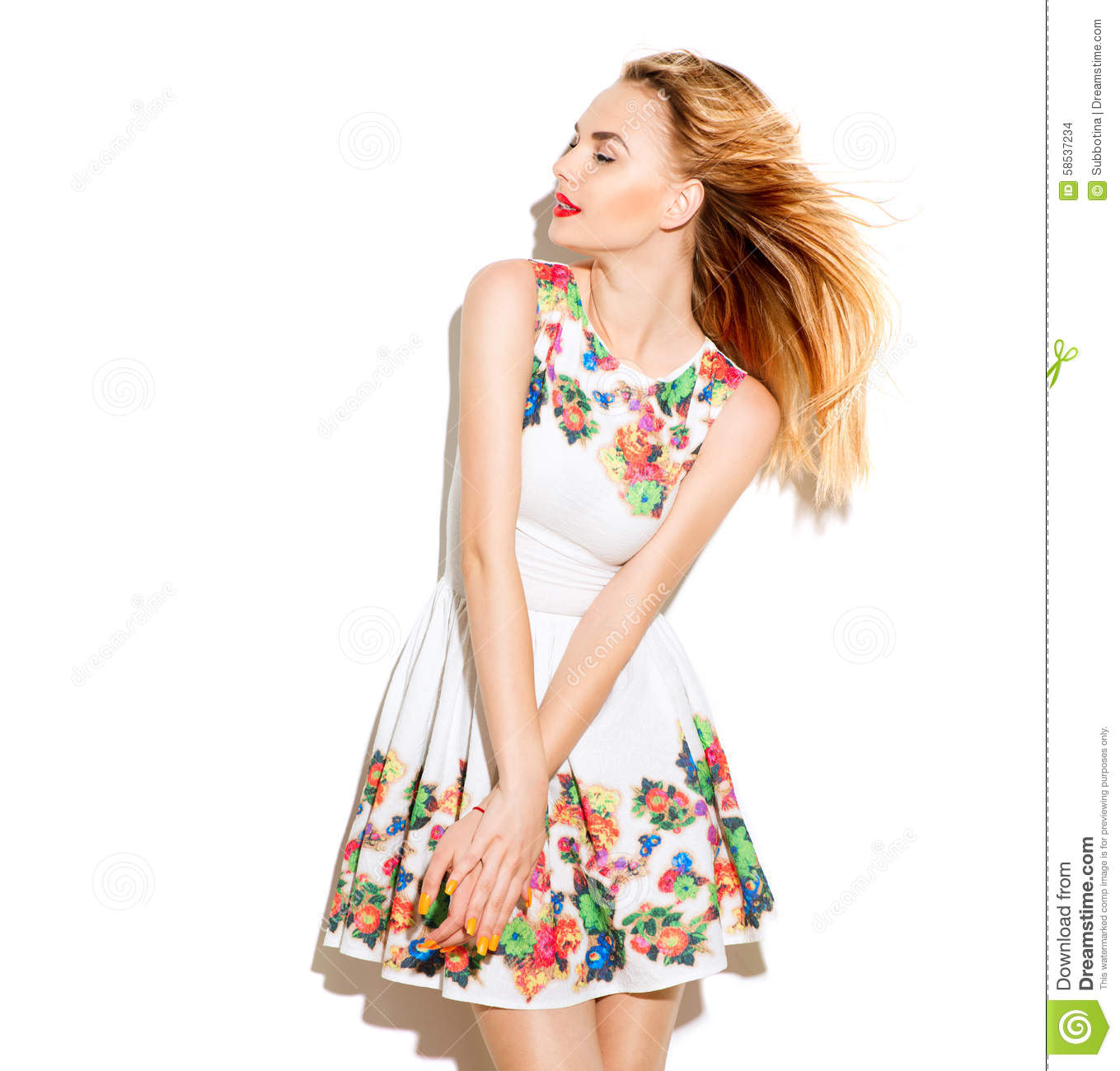 ec0a75a8753 Beautiful Girl Wearing A Summer Dress With Floral Print Stock Photo ...