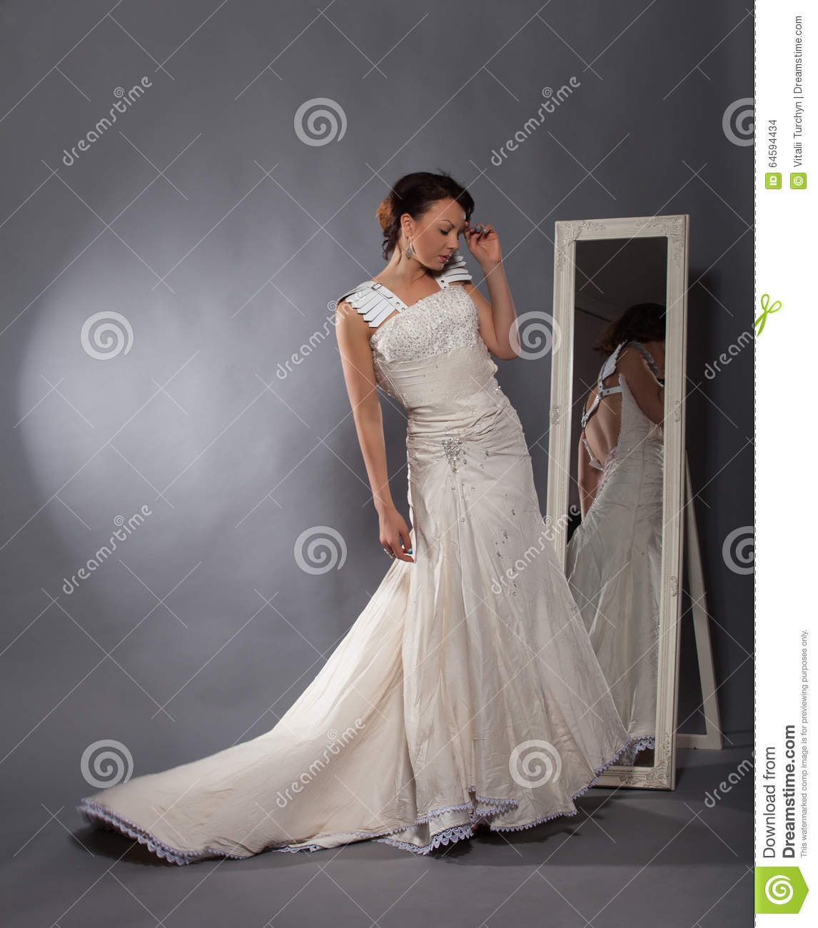 Beautiful girl in a wedding dress stock photo image of for Leather wedding dresses black