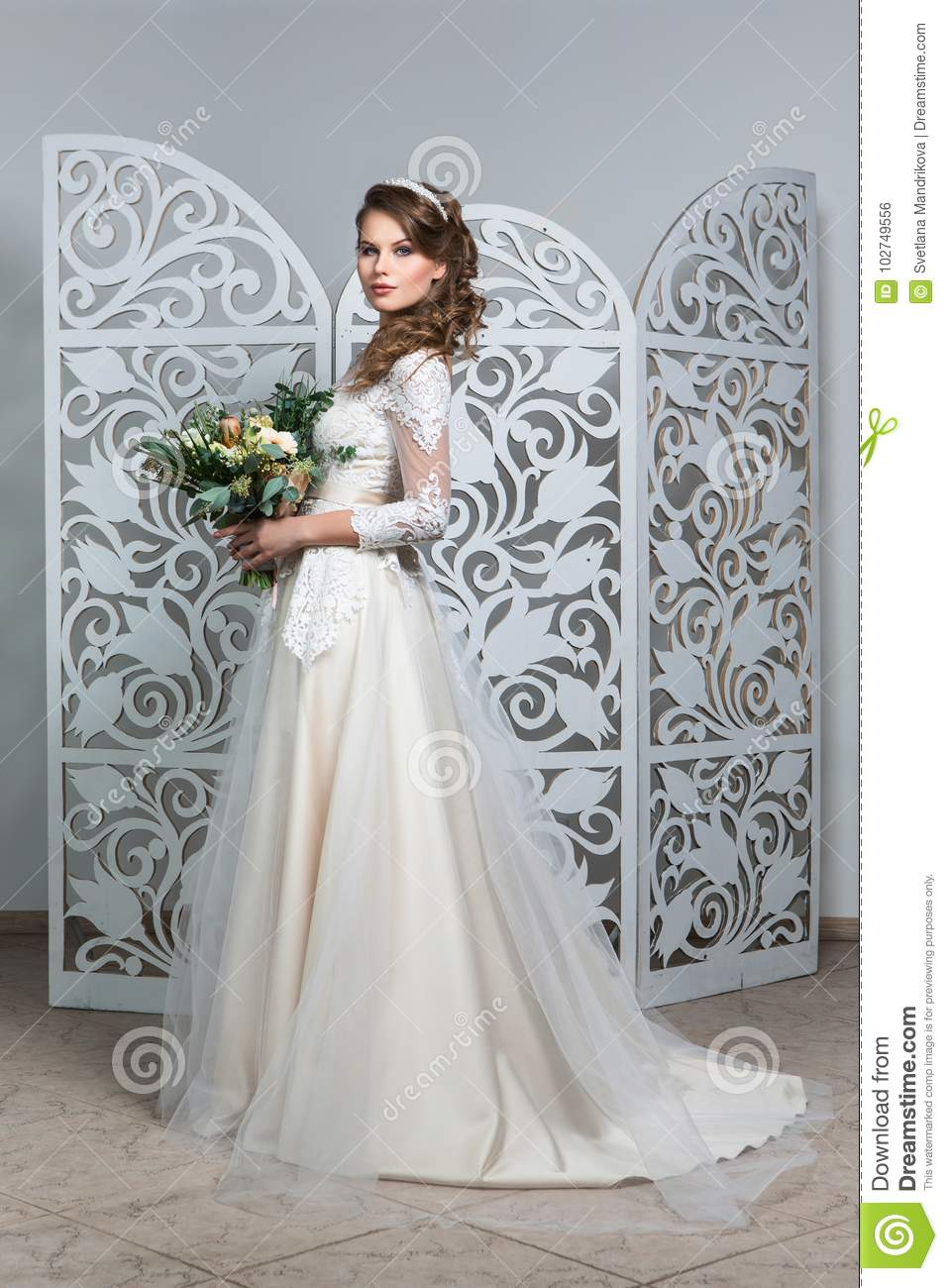 Beautiful Girl In Wedding Gown Stock Photo Image Of Bold