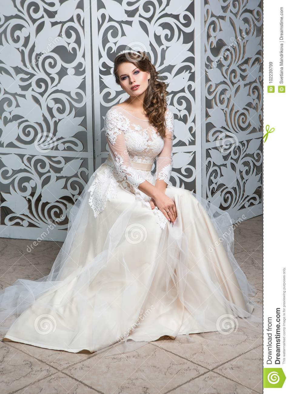 Beautiful Girl In Wedding Gown Stock Image - Image of gown, event ...