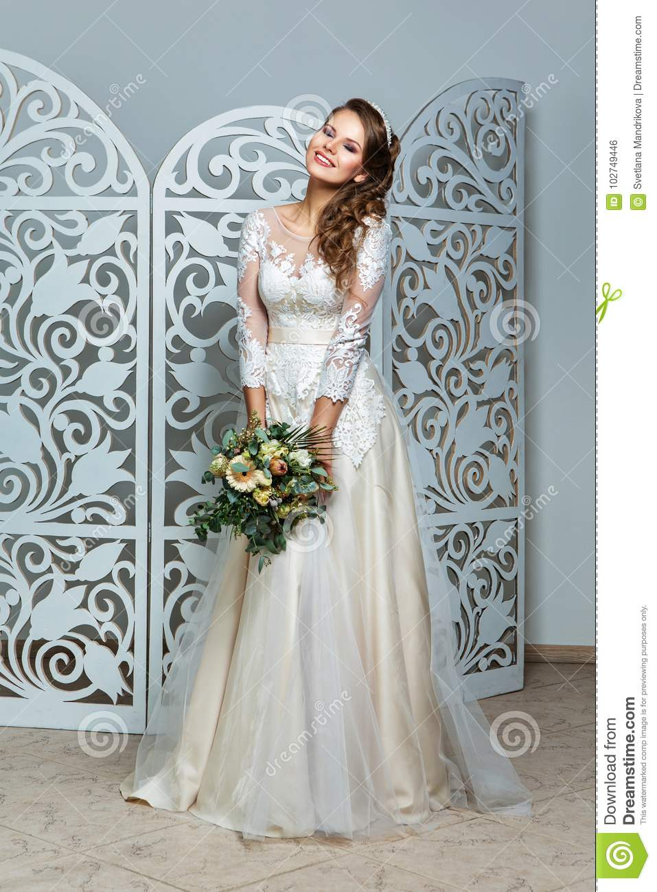 Beautiful Girl In Wedding Gown Stock Photo Image Of Bouquet
