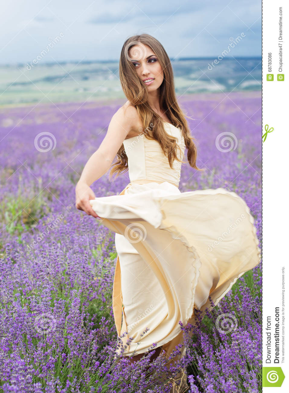 Beautiful Girl In White Dress At Lavender Field Stock Photo Image