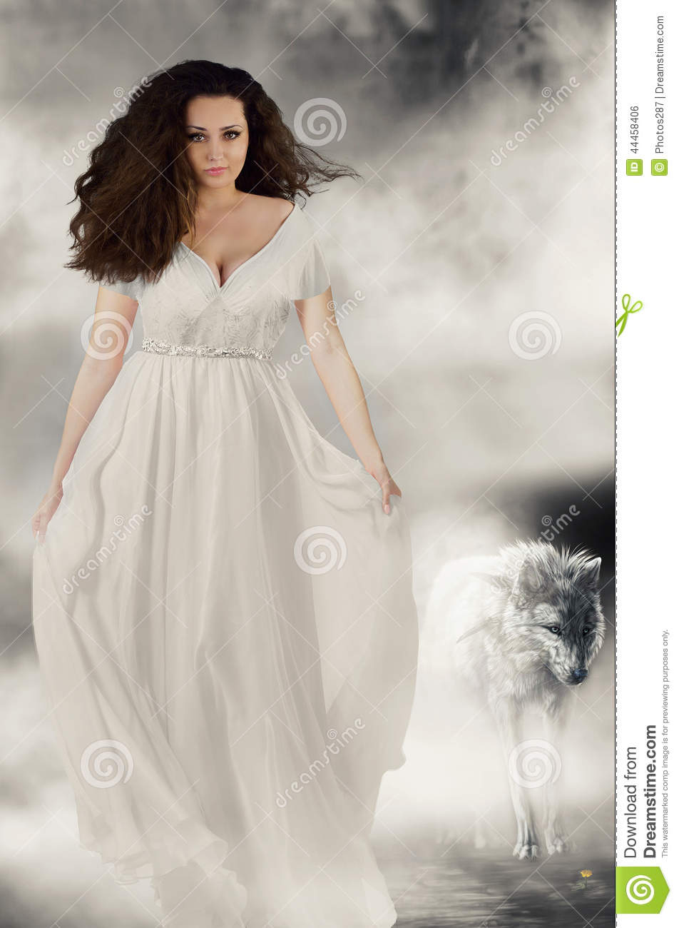 Book Cover White Girl ~ Beautiful girl in white dress with wolf book cover