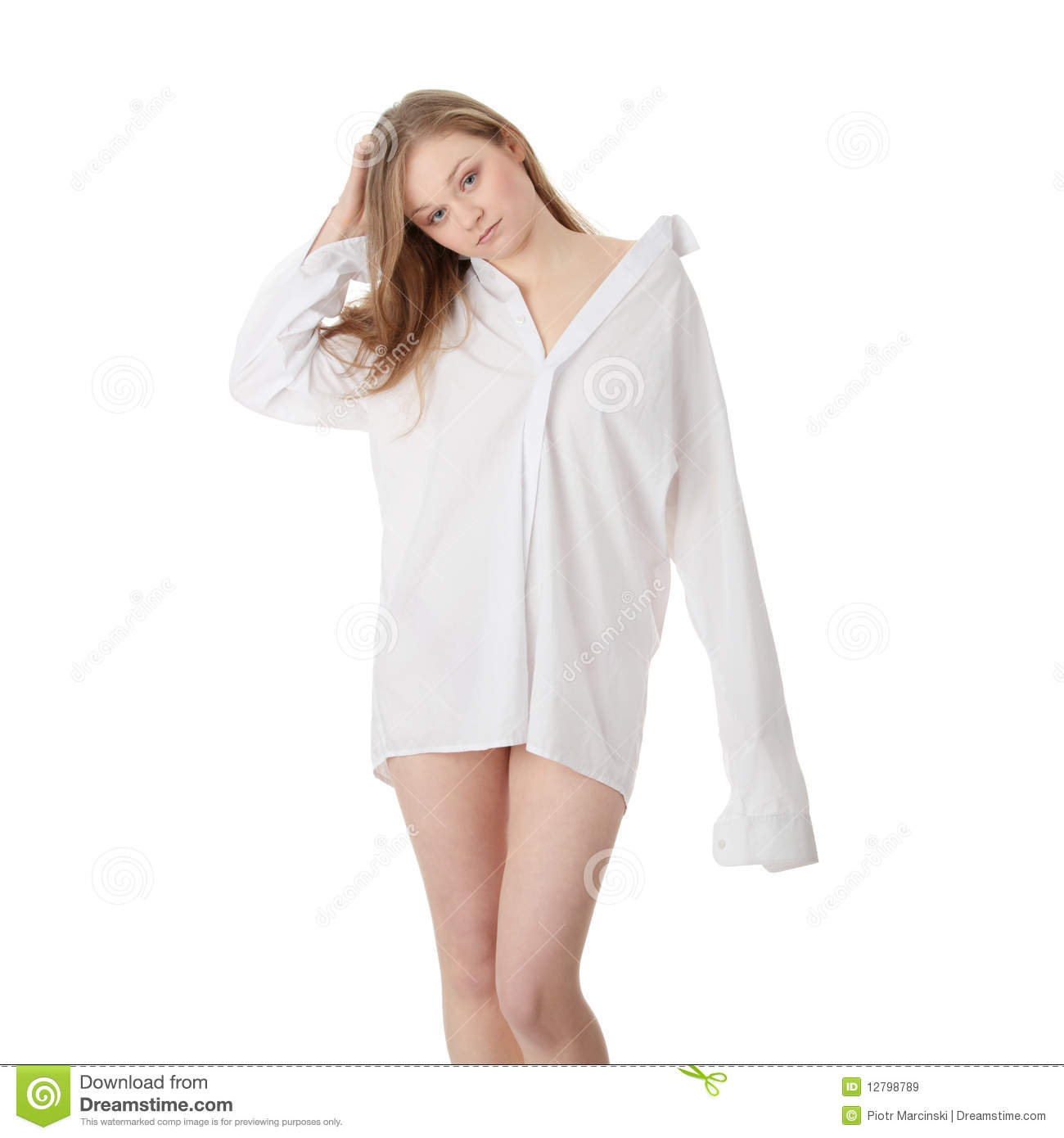 The Beautiful Girl In A White Men Shirt Royalty Free Stock