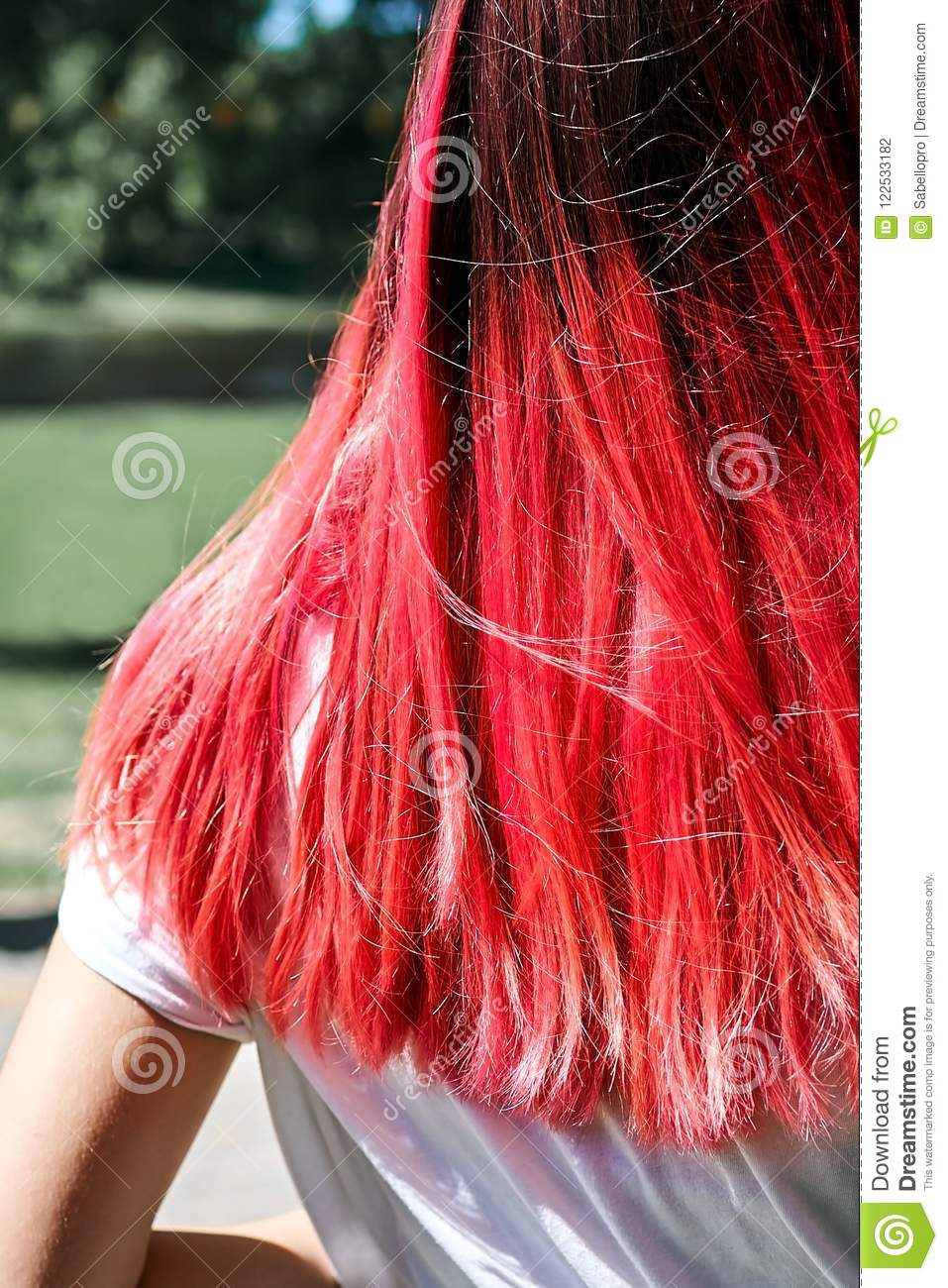 Woman hairs bright pink color