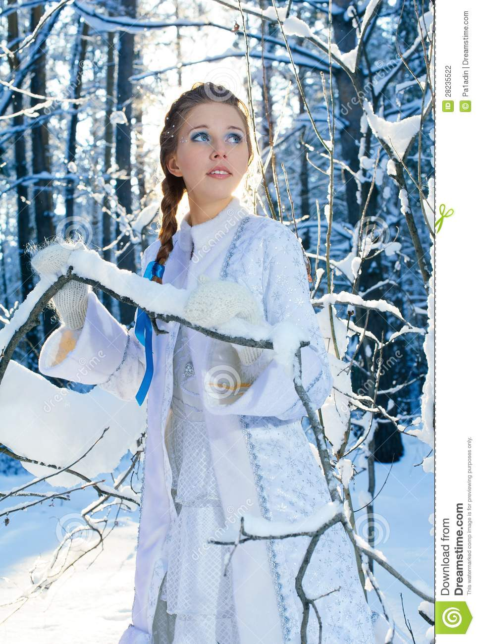 Beautiful Girl In A Winter Forest Stock Photography ...