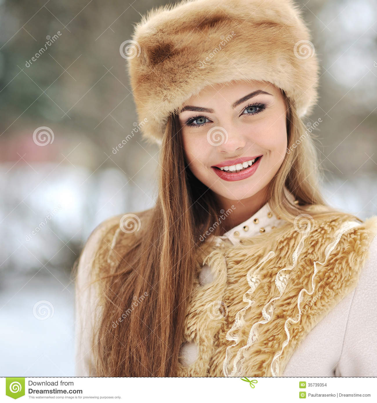beautiful girl in winter outdoor stock photo image