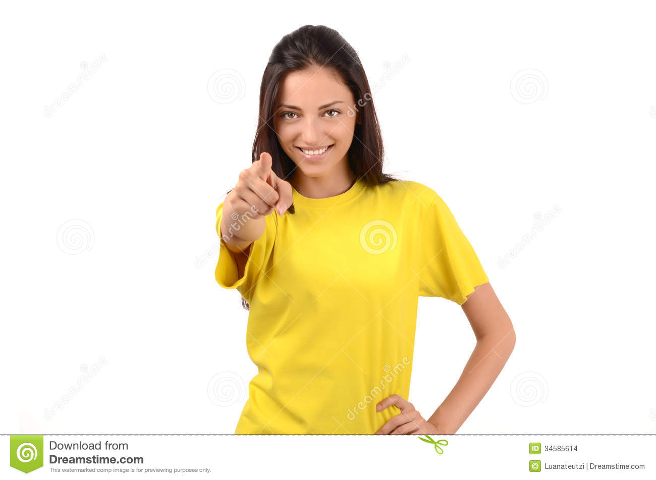 cbe29370a0 Beautiful Girl With Yellow T-shirt Pointing In Front To You. Stock ...