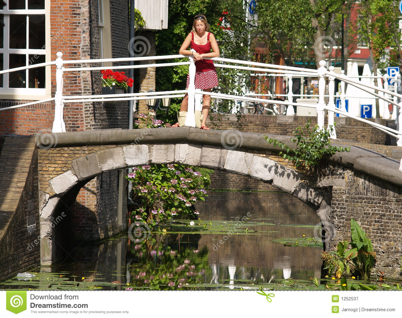Beautiful girls on bridge