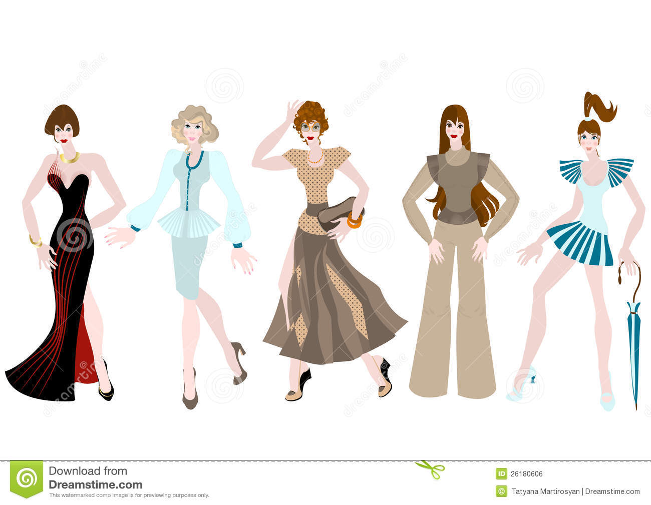 Beautiful girls in different clothing style royalty free Different fashion style groups