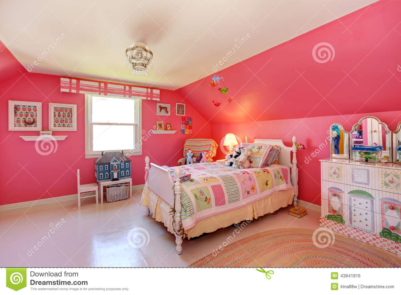 Beautiful Girls Room In Bright Pink Color Stock Photo