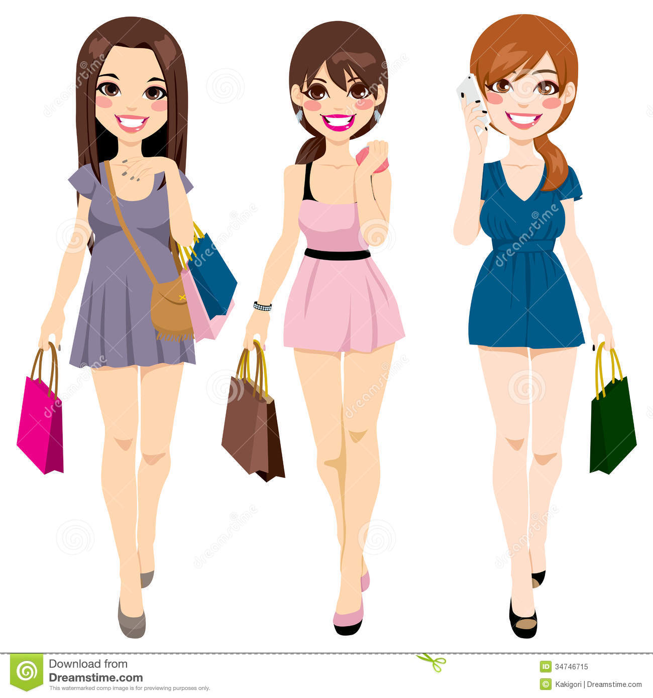 Beautiful Girls Shopping stock vector. Image of ...
