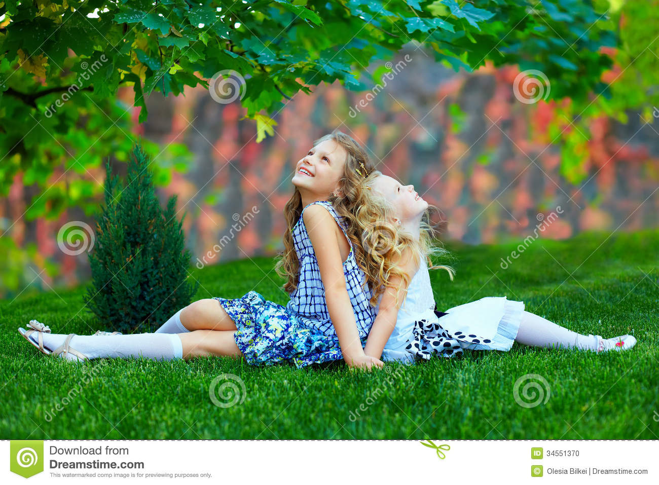 Beautiful Girls Sisters Enjoying Colorful Nature