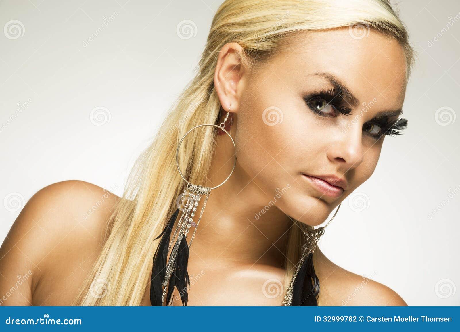 Beautiful Glamorous Woman With False Eyelashes Stock Photo Image