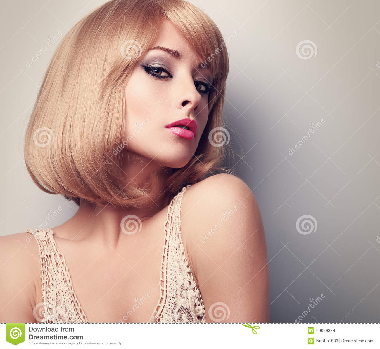 Beautiful Girl With Short Blond Hair Royalty Free Stock