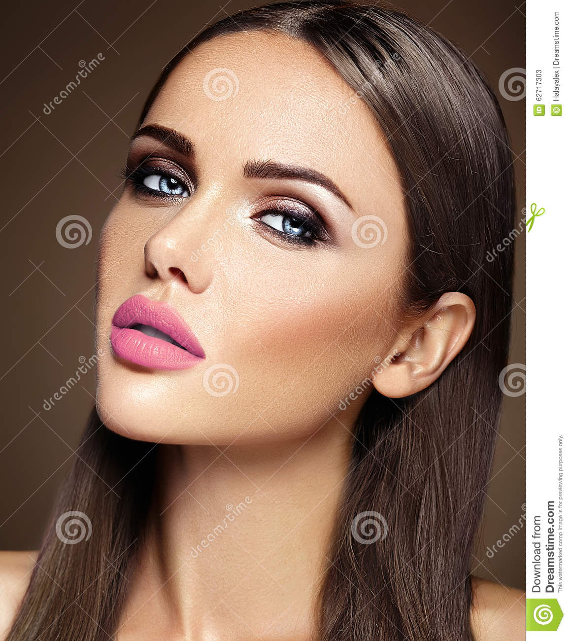 beautiful glamour model with fresh daily makeup with stock photo