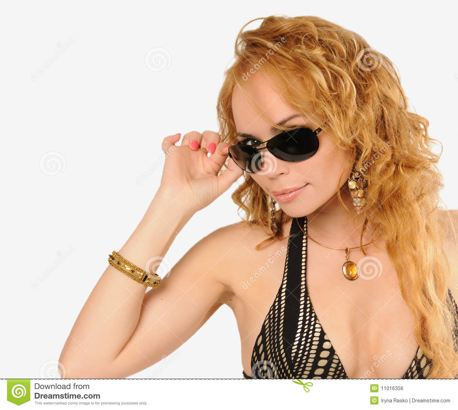 Beautiful glance above sun-glasses