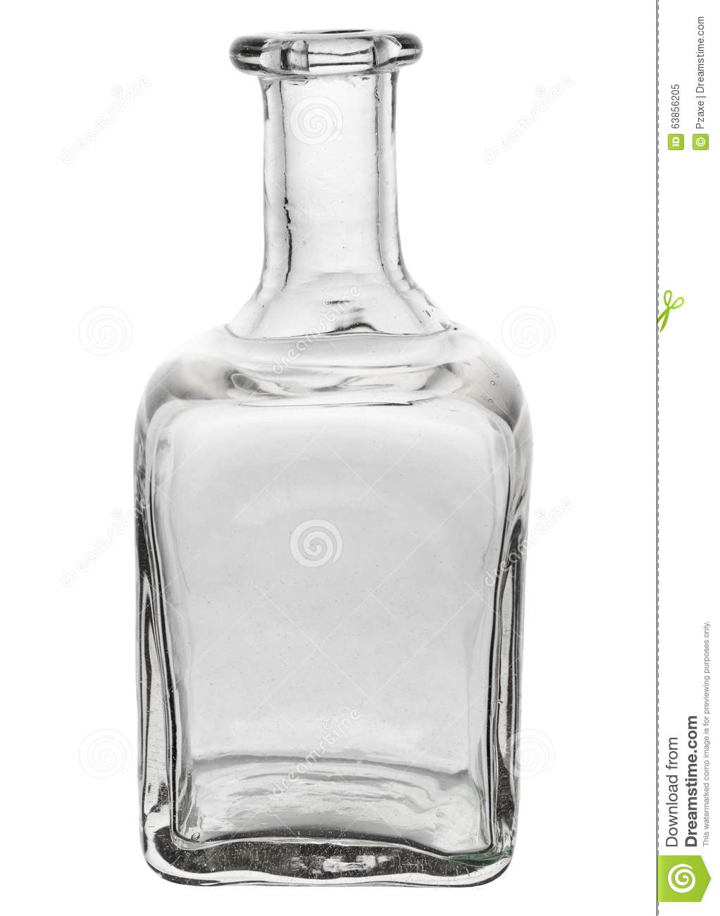 Beautiful glass bottle with curved edges