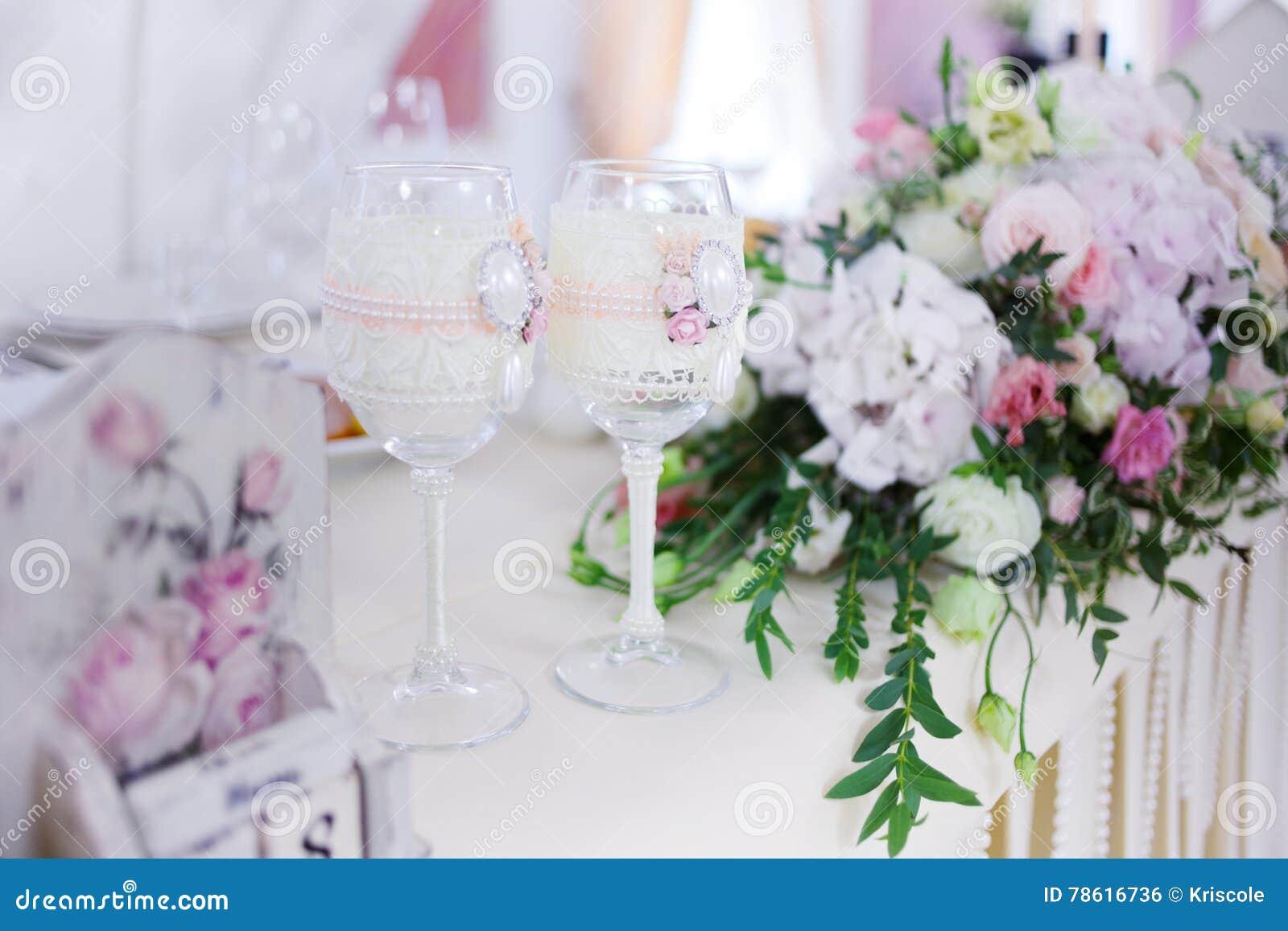 Beautiful Glasses Of Champagne And Wine, Wedding Decor, Celebration ...
