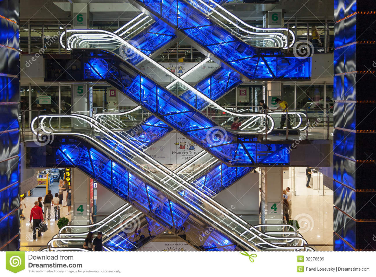 Beautiful Glowing Escalators In Shopping Center European