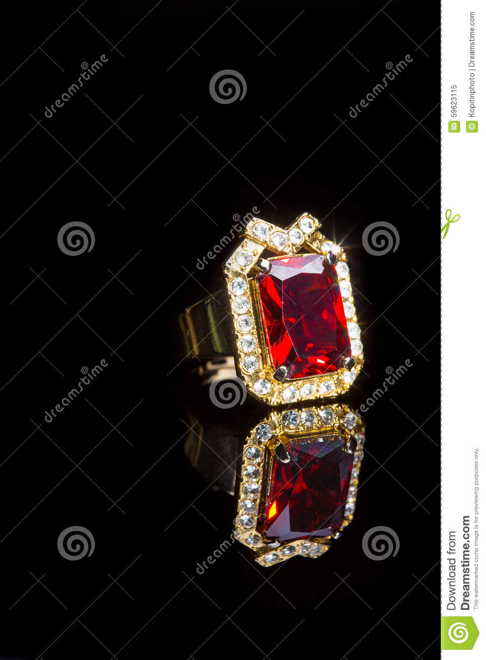 Beautiful Gold Ring With Precious Stone Stock Image - Image of ...
