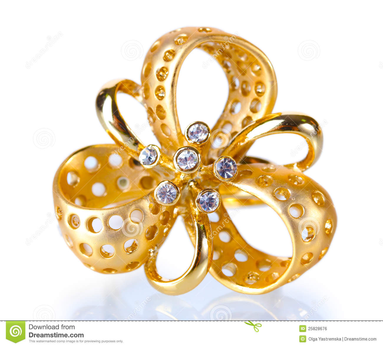 Beautiful Gold Ring With Precious Stones Stock Photo - Image: 25828676