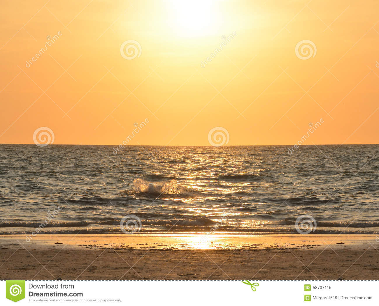 Beautiful Golden Beach At Sunset Stock Image Image Of