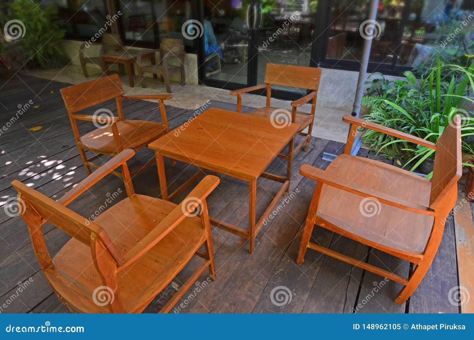 Beautiful Golden Teak Table Set On Wooden Floor Stock Image Image Of Rest Bench 148962105
