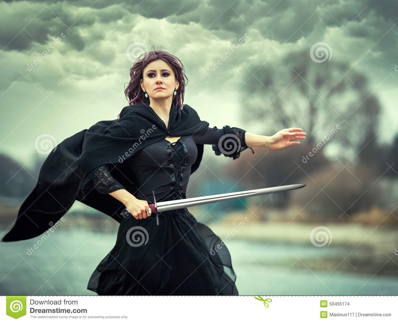 The Beautiful Gothic Girl With Sword Stock Photo - Image: 50455174