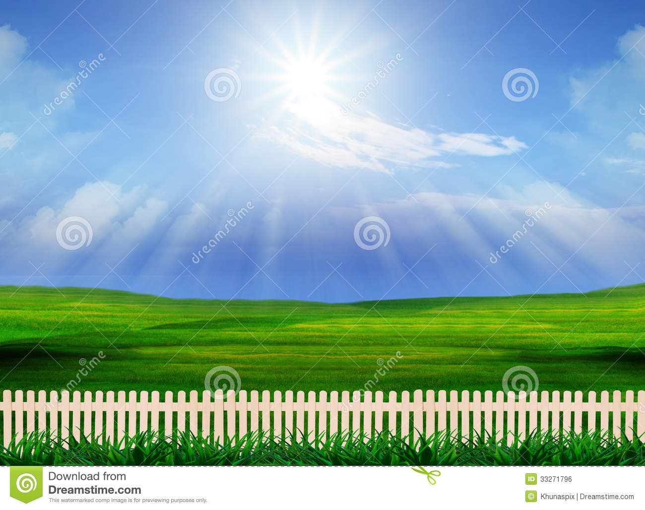 beautiful grass field and wood fence use for natural background stock photo