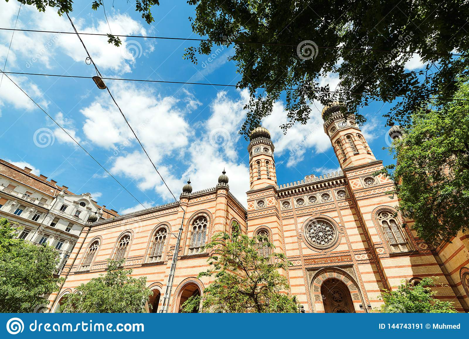 Beautiful great synagogue of Budapest, against sky background. Travel in Hungary. Summer vacation at Budapest city. Best tour in