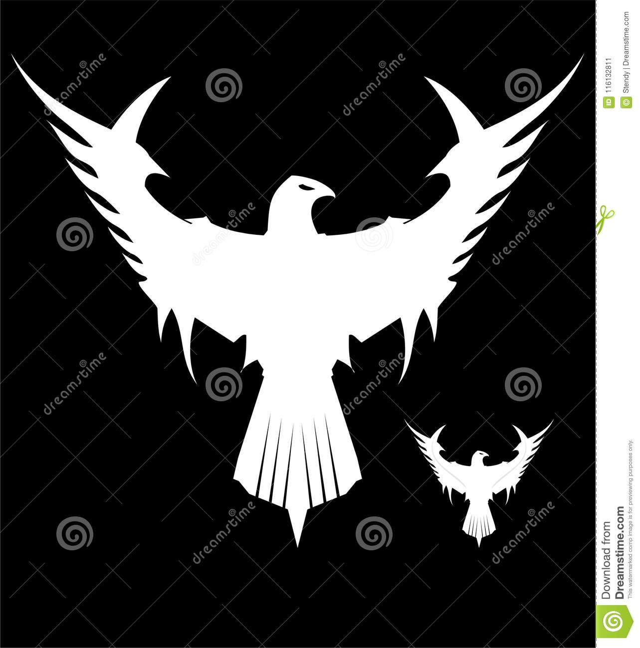 Beautiful Great White Eagle Mascot On Black Background Stock Vector Illustration Of Hawk Aggression 116132811
