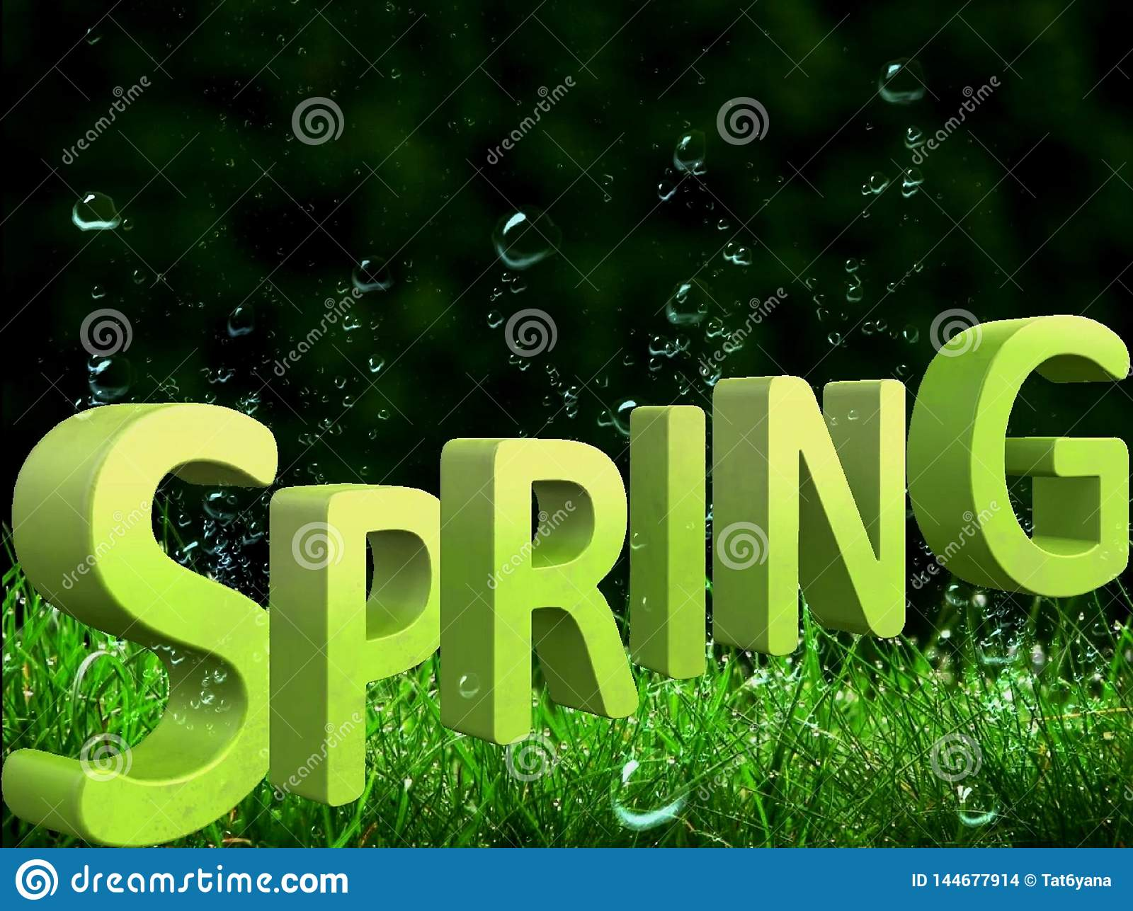 Beautiful green background with a big spring inscription in 3d format