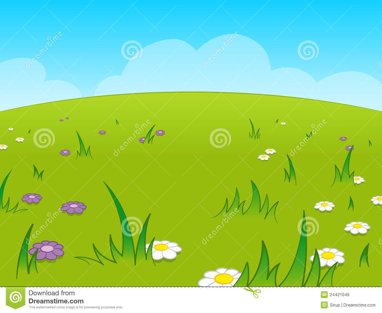 Royalty Free Stock Images: Beautiful green cartoon meadow against blue ...