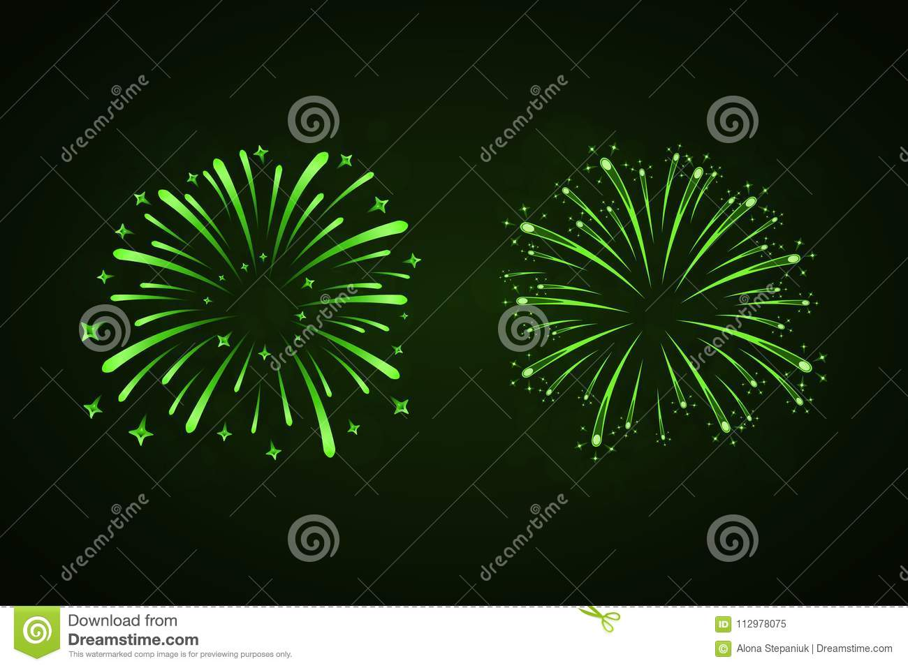 Beautiful green fireworks set. Bright fireworks isolated black background. Light green decoration fireworks for