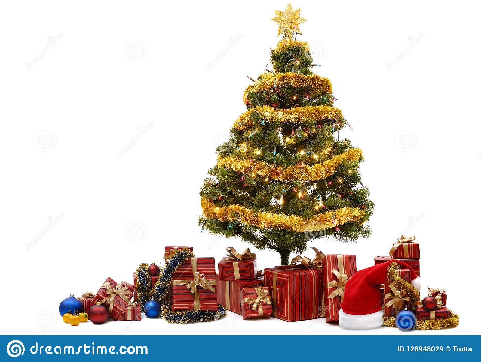 Beautiful Green And Gold Christmas Tree Stock Image Image Of