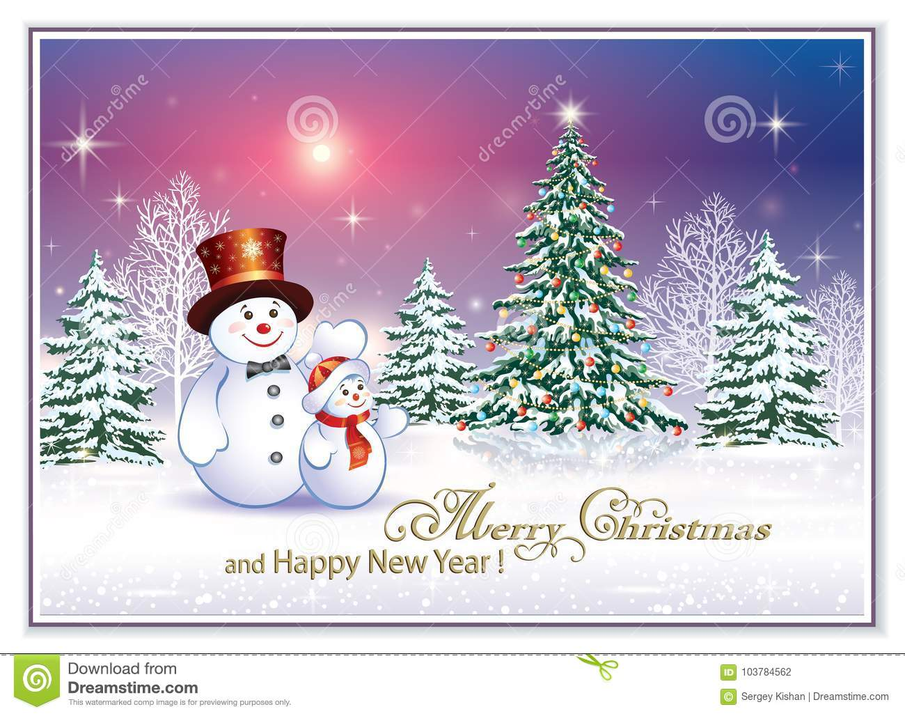 Merry Christmas And Happy New Year 2018 Stock Vector