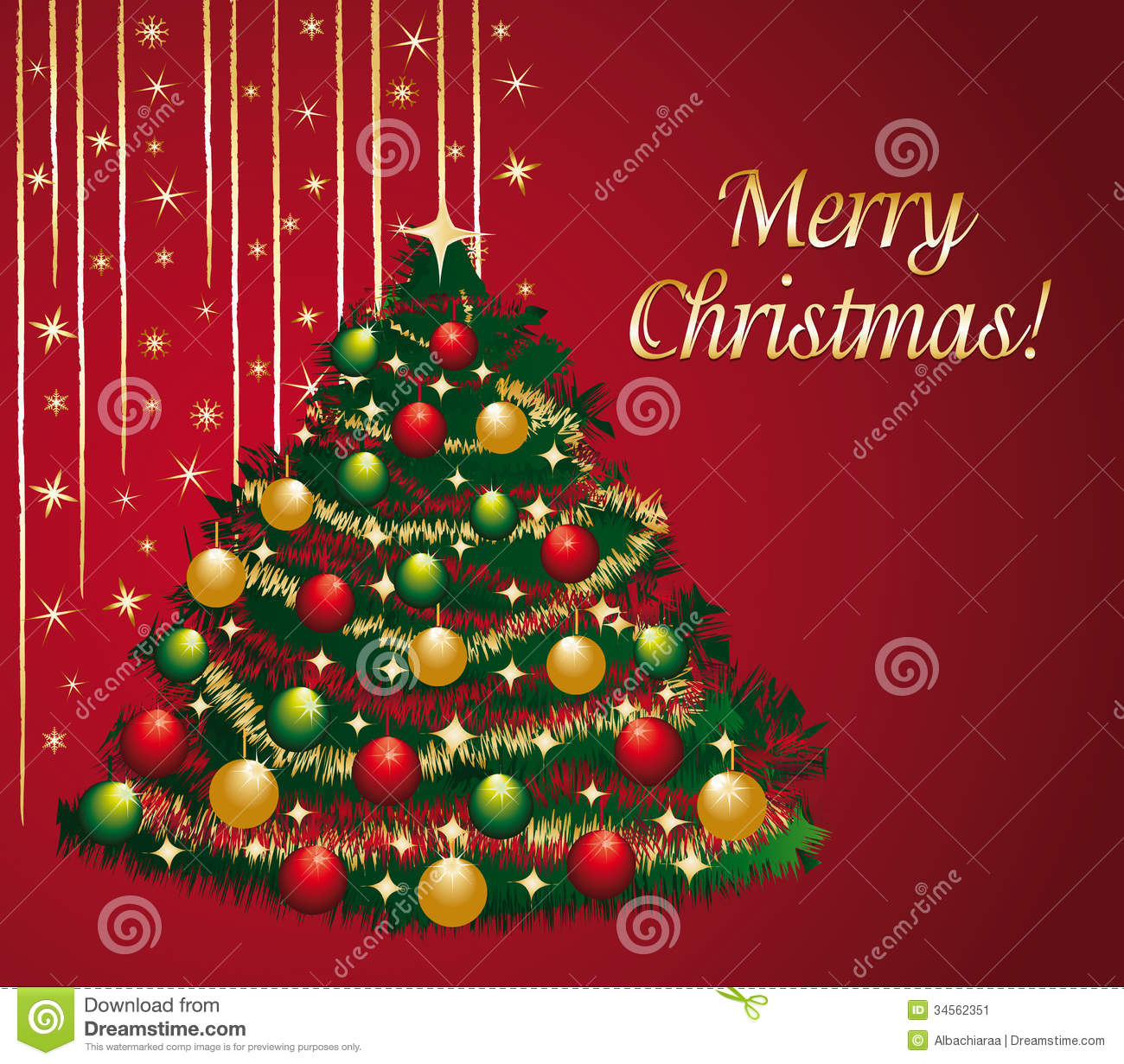 Beautiful Greeting Card With Decorated Christmas Tree